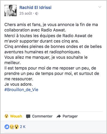 Rachid El Idrissi annonce son départ de Radio Aswat (Poste Facebook)